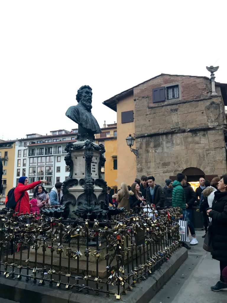 Firenze, ponte vecchio, lucchetti, benvenuto cellini, francesca mercantini
